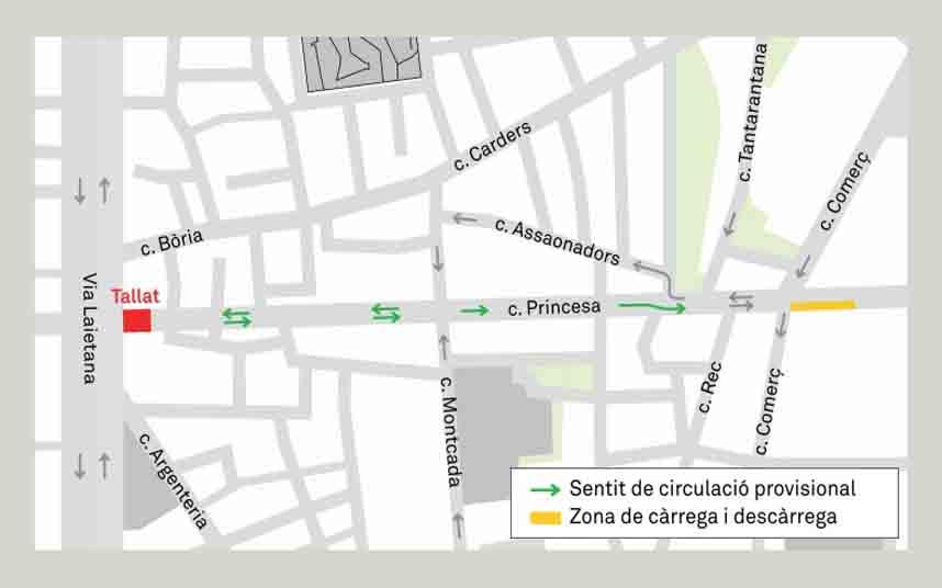 Corte de tráfico en la calle Princesa por obras en las aceras de Via Laietana