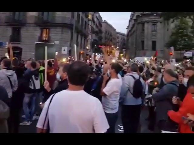 Protesta nocturna de los trabajadores de Nissan en Barcelona