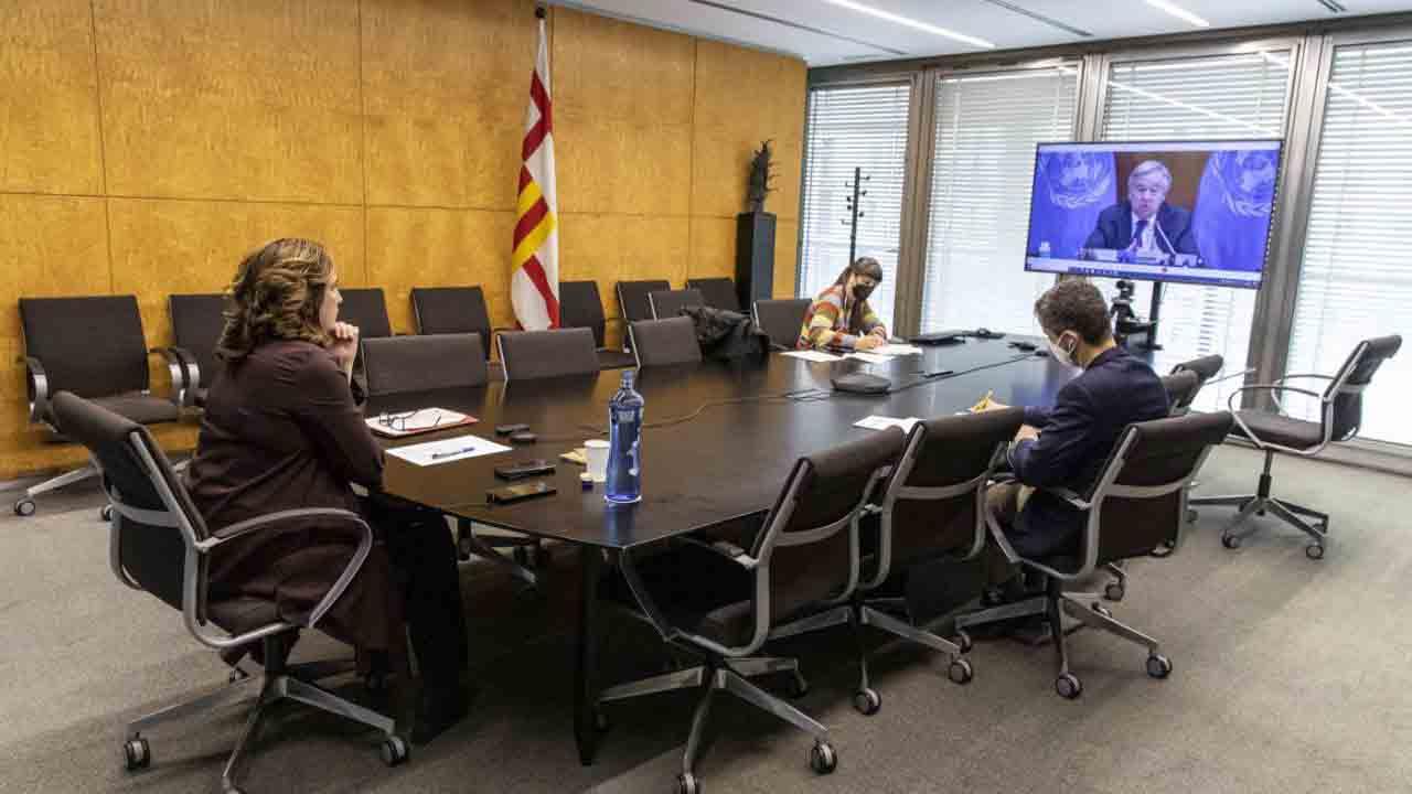 Ada Colau se reúne con el secretario general de la ONU, António Guterres